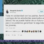 Margarita Zavala expresa solidaridad con familias de estudiantes asesinados en Jalisco