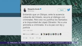 Margarita Zavala rechaza el diálogo del obispo de Chilapa con criminales