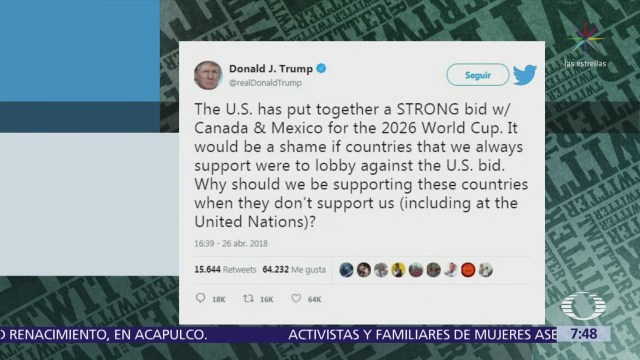 México y EU apoyan candidatura del Mundial 2026