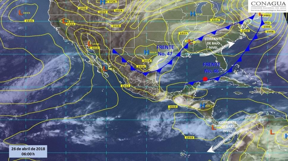 Mapa con el pronóstico del clima para para este 26 de abril. (SMN)