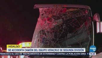 Se accidenta camión del equipo Veracruz de segunda división en Hidalgo