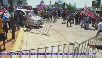 Se enfrentan simpatizantes de Meade con integrantes de la CNTE en Oaxaca
