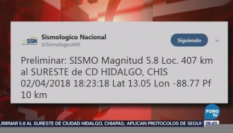 Sismo Magnitud Preliminar 5.8 Chiapas