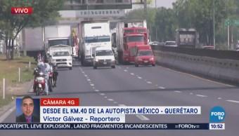 Transportistas afectan la circulación en la México-Querétaro