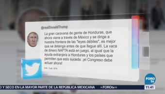 Trump pide acciones al Congreso de EU por caravana de migrantes