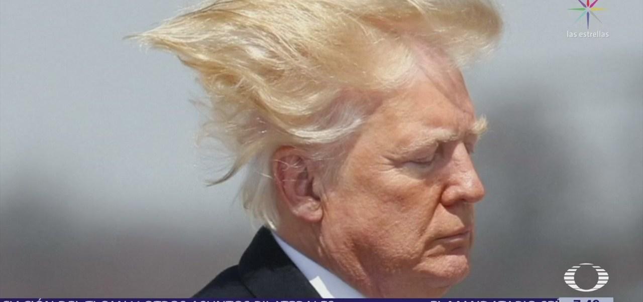 Trump vuelve a quedar despeinado por viento intenso