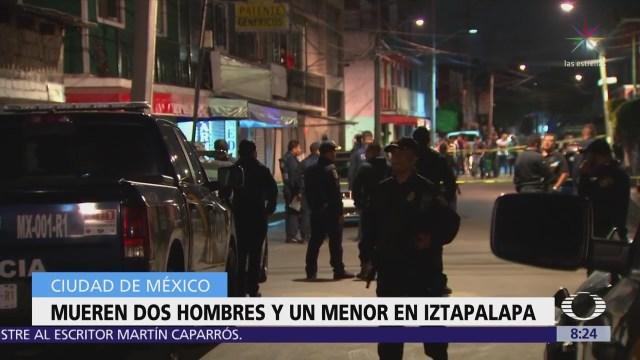 Un menor de edad y dos hombres mueren por disparos en Iztapalapa
