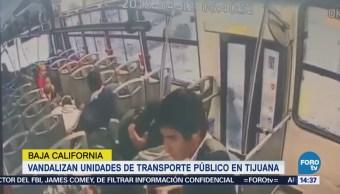 Vandalizan Dos Unidades Transporte Público Tijuana