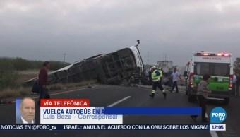 Vuelca autobús en la autopista Monterrey-Reynosa