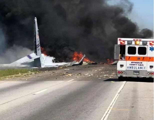 Avión militar de EU se estrella en las afueras de Savannah, Georgia