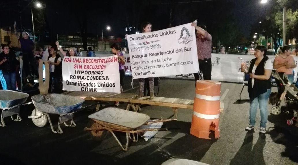 damnificados 19s bloquean carriles centrales calzada tlalpan