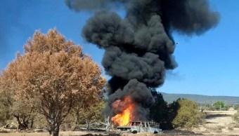bomberos de hidalgo controlan un incendio por toma clandestina