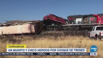 Choque de trenes deja un muerto y cinco heridos en Chihuahua