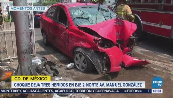 Choque deja tres heridos en Eje 2 Norte, CDMX