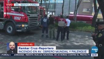 Combaten incendio en Obrero Mundial y Palenque, CDMX