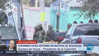 Coparmex urge periodo extraordinario para avanzar leyes sobre seguridad