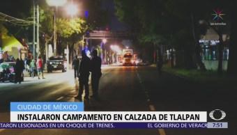 Damnificados del 19S instalan campamento sobre calzada de Tlalpan