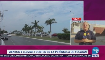 Fuertes Vientos Lluvias Azotan Península Yucatán