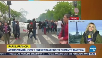 Globalifóbicos realizan destrozos durante marcha del Día del Trabajo en Francia