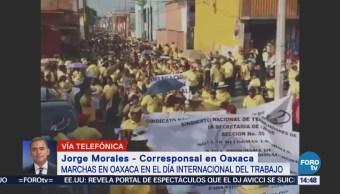 Grupos Sindicales Oaxaca Marchan Día Trabajo