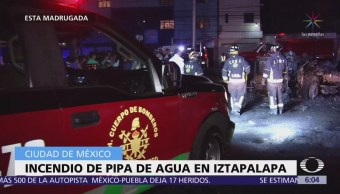 Incendian otra pipa en la delegación Iztapalapa, CDMX