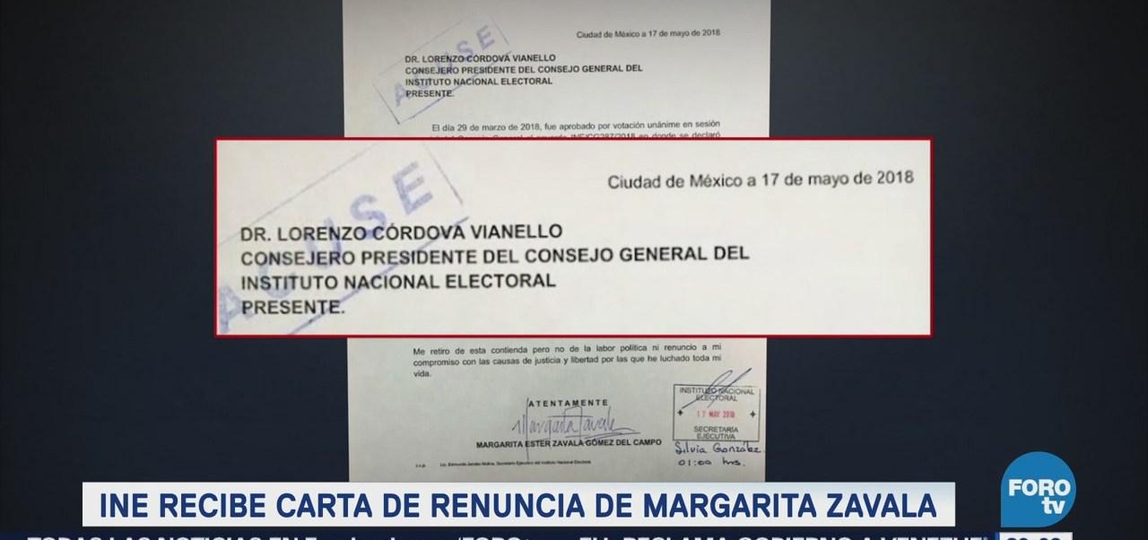 INE Recibe Carta Renuncia Margarita Zavala
