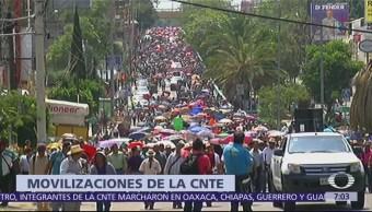 Integrantes de la CNTE marchan en Oaxaca, Chiapas, Guerrero y Guanajuato
