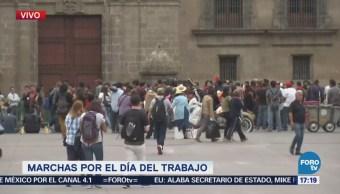 Manifestación Partido Comunista Llega Zócalo Capitalino