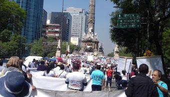 Familiares de personas desaparecidas realizan mitin en el Ángel de la Independencia, CDMX