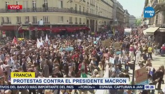 Manifestantes Protesta Contra Políticas Económicas Macron