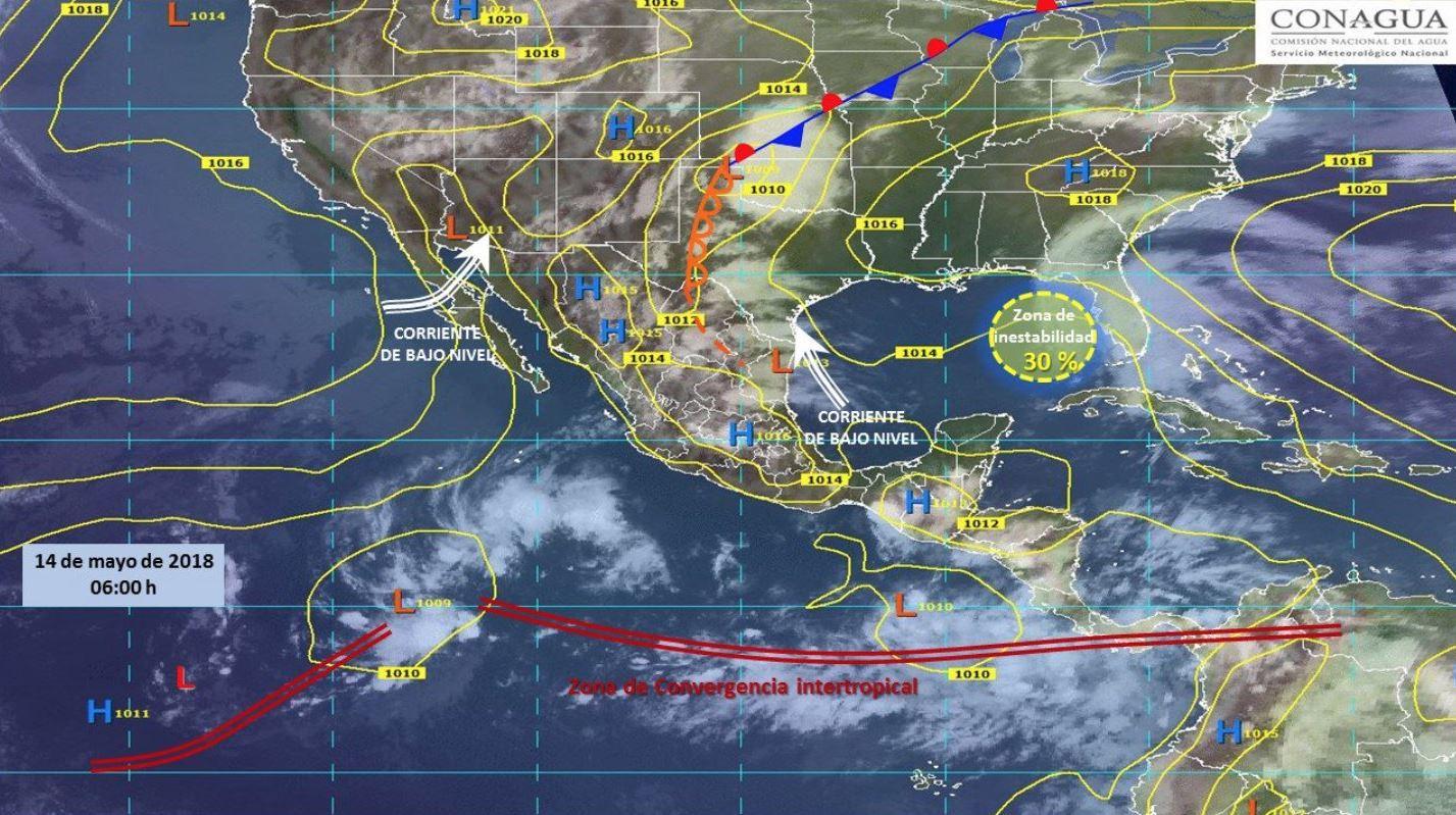 Mapa con el pronóstico del clima para este 14 de mayo.