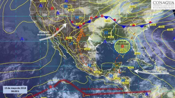 Mapa con el pronóstico del clima para este 15 de mayo. (SMN)