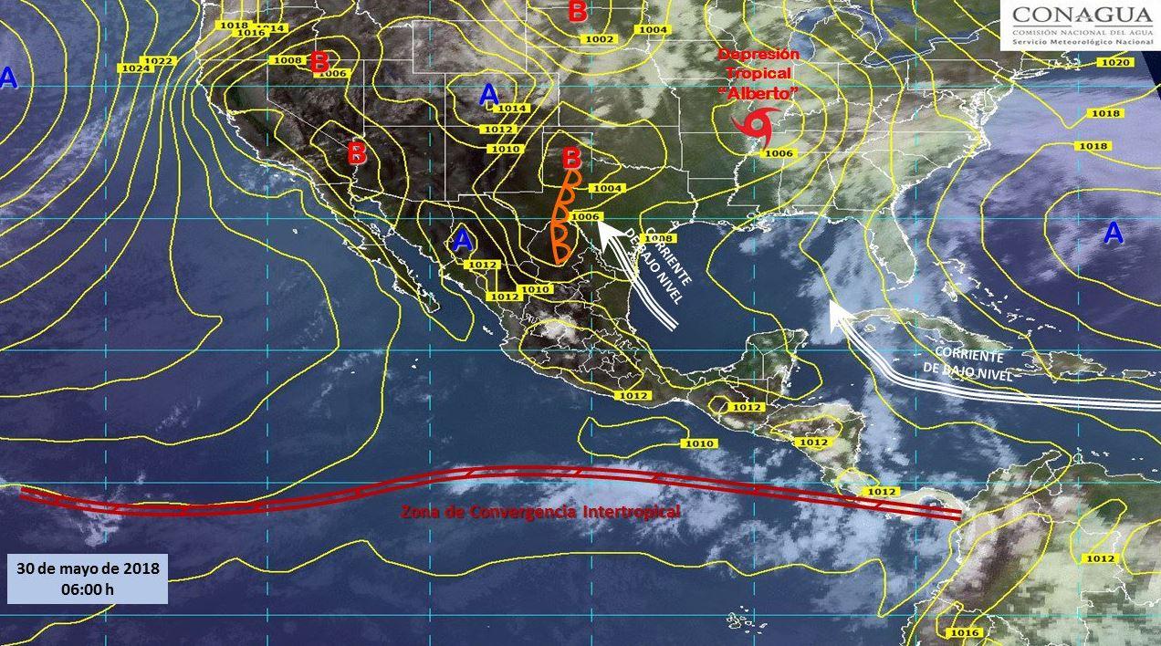 Mapa con el pronóstico del clima para este 30 de mayo