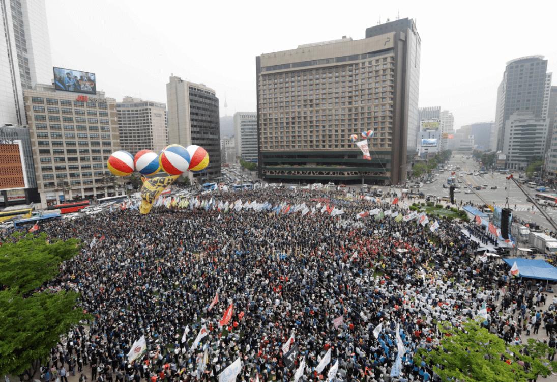 Marchas en Corea del Sur. (AP)