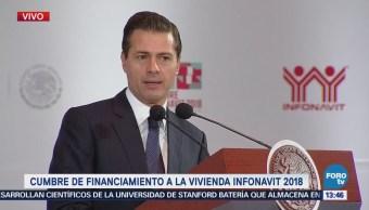 Peña Nieto encabeza Cumbre de Financiamiento a la Vivienda Infonavit 2018