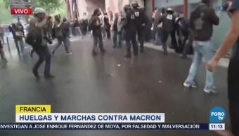 Policías de Francia se enfrentan contra encapuchados en protestas sindicales