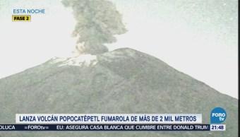 Popocatépetl Lanza Fumarola Nocturna Más 2 Kilómetros