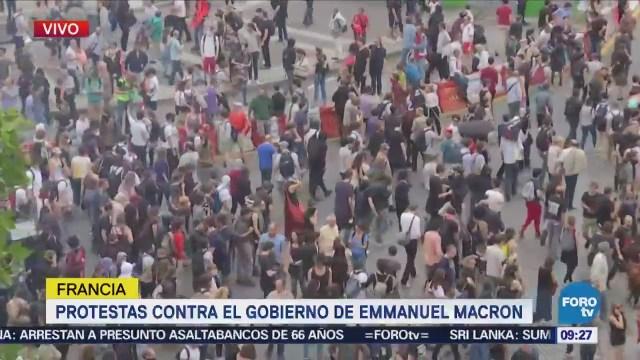 Protestas Contra Gobierno Emmanuel Macronen París