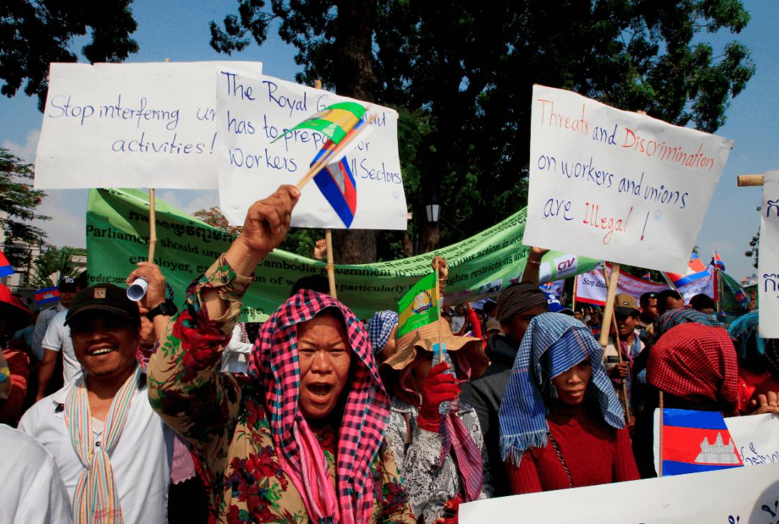 Protestas en Camboya por el 1 de mayo. (AP)