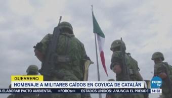 Realizan Homenaje Militares Caídos Coyuca Catalán, Guerrrero