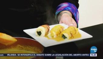 Receta de rollo de pescado relleno de espinacas
