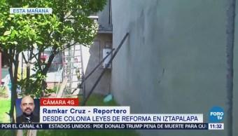 Sismo daña barda en la colonia Leyes de Reforma, Iztapalapa