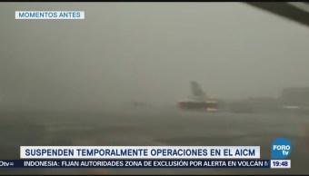 Suspenden Operación Aeropuerto Capitalino Tromba