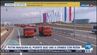 Vladimir Putin inaugura puente que conecta a Rusia con Crimea