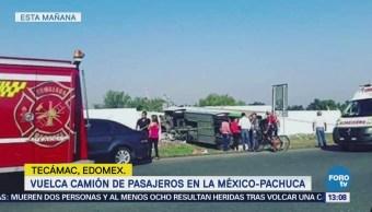 Vuelca camión de pasajeros en la México-Pachuca