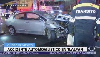 Accidente automovilístico en Tlalpan deja dos heridos