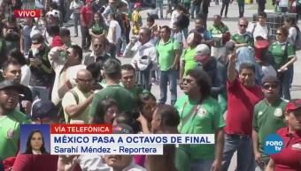 Aficionados de la selección mexicana mantienen festejo en el Zócalo
