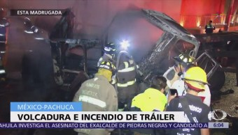 Camión choca y se incendia en la México-Pachuca