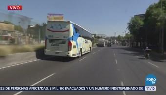 Caravana de autobuses de la CNTE avanzan sobre Tlalpan