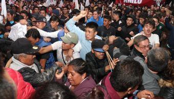 Se registran actos de violencia en mitin de AMLO en Pachuca